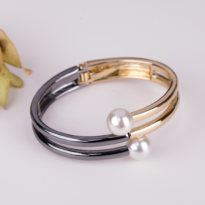 Bratara nichel-aurie metalica cu perle sintetica [0]