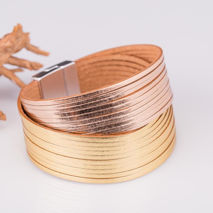 Bratara magnetica dubla multisir auriu-auriu rosiatic 0