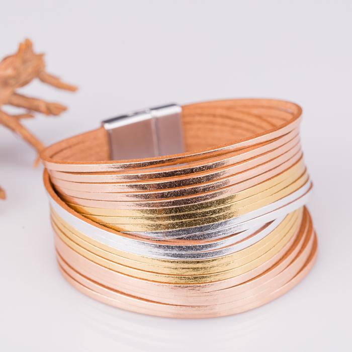 Bratara magnetica dubla multisir auriu-argintiu-auriu rosiatic [0]