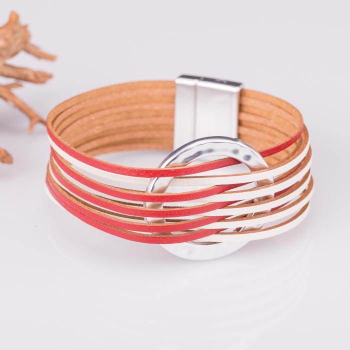 Bratara magnetica multisir alb-rosu cu cerc metalic [0]