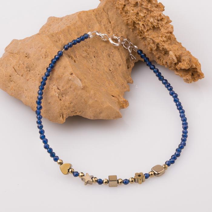 Bratara subtire bleumarin-auriu din cubic zirconia si hematit 0