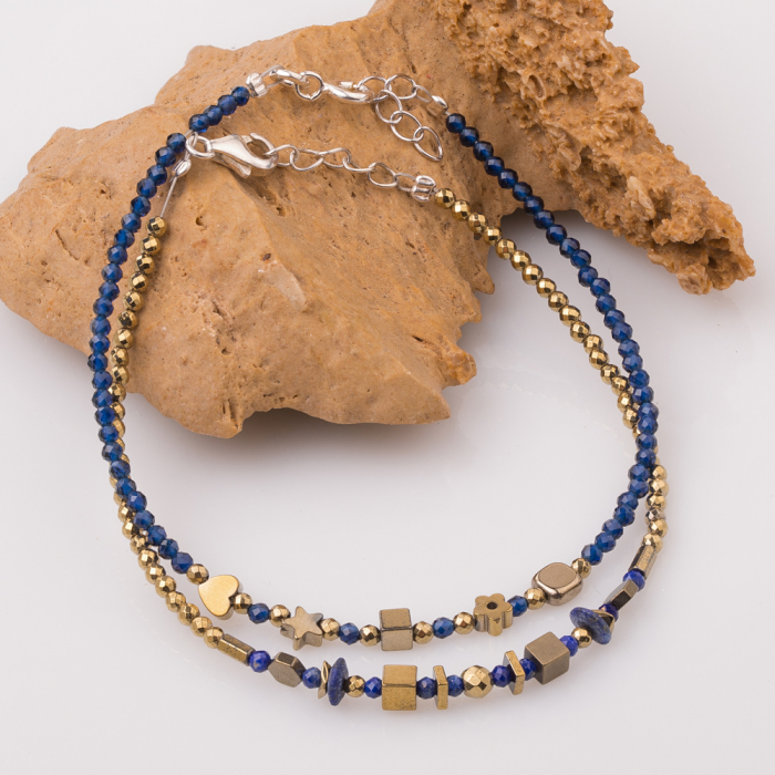 Bratara subtire bleumarin-auriu din cubic zirconia si hematit 2