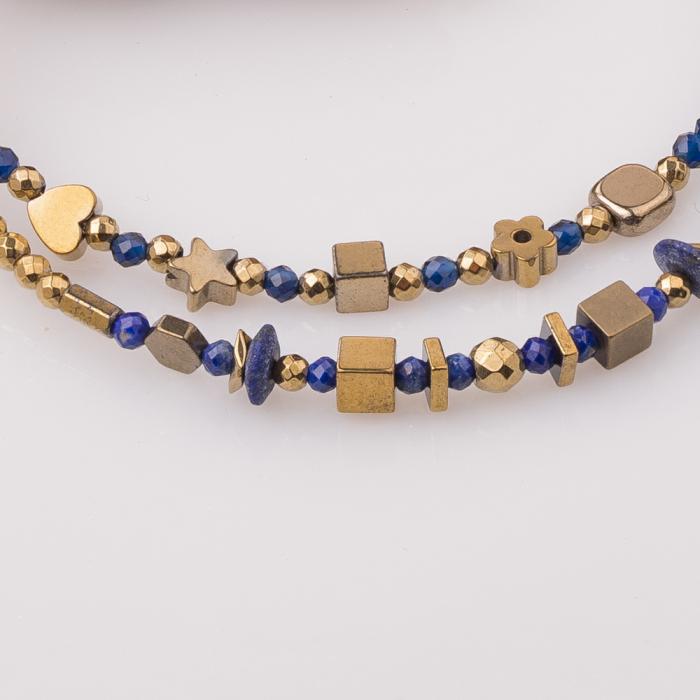 Bratara subtire din hematit auriu si lapis lazuli [2]
