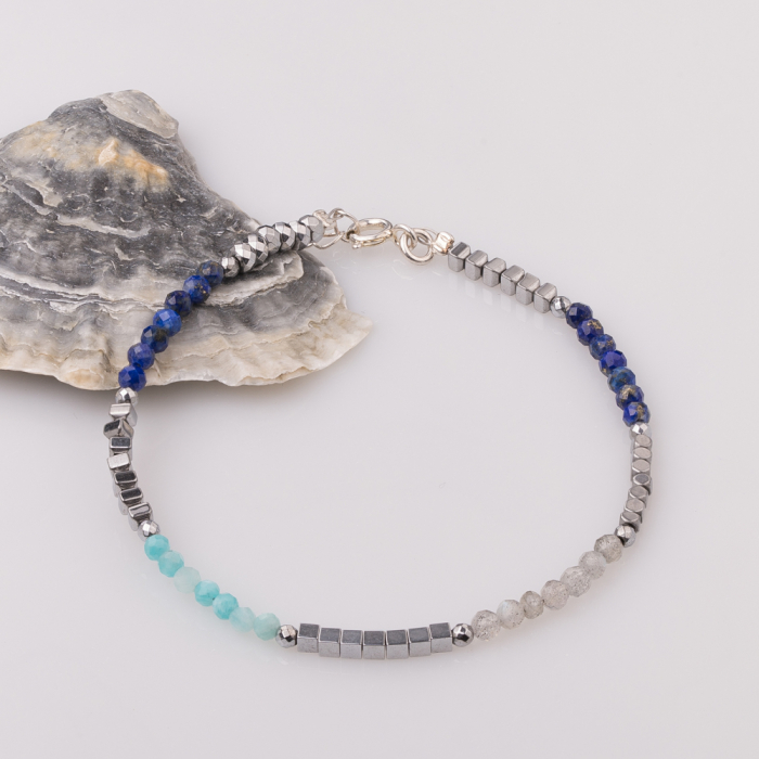 Bratara subtire din hematit cu lapis lazuli [0]