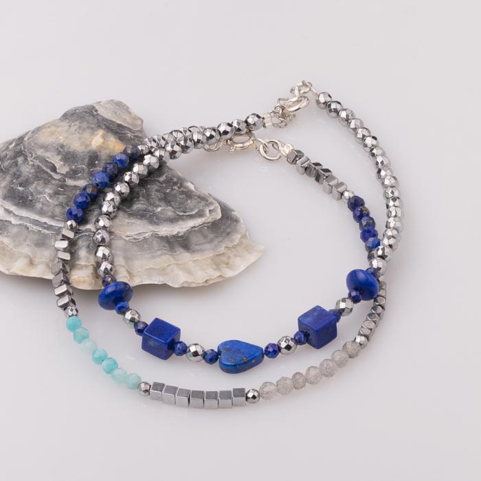 Bratara subtire din hematit cu lapis lazuli [2]