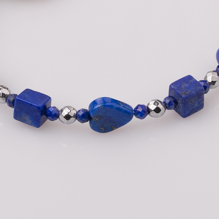 Bratara subtire din hematit cu lapis lazuli 2