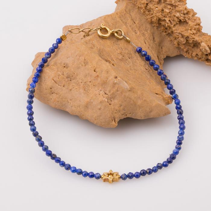 Bratara argint subtire din lapis lazuli fatetat si steluta din argint aurit [0]