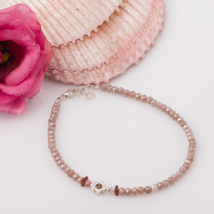 Bratara subtire din turmalina roz cu floare din argint 0