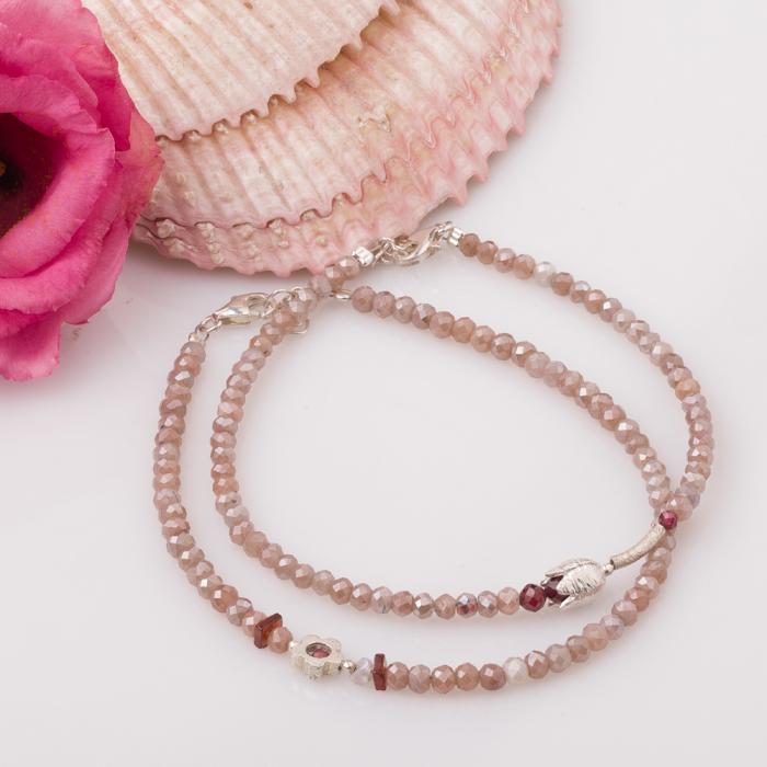 Bratara subtire din turmalina roz cu floare din argint 2