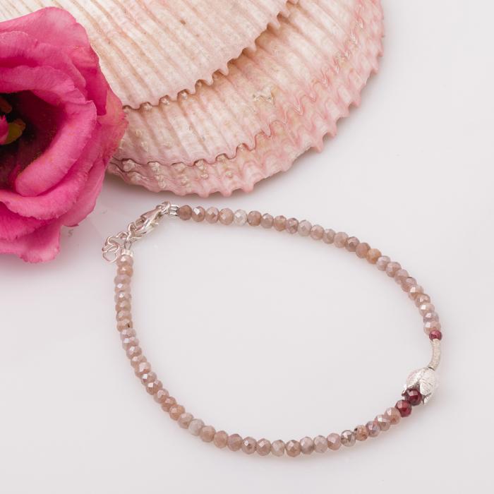 Bratara subtire din turmalina roz cu lalea din argint [0]