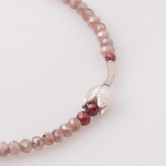 Bratara subtire din turmalina roz cu lalea din argint [1]