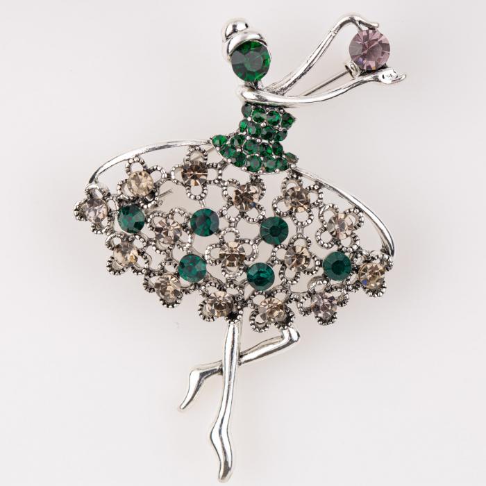 Brosa metalica balerina argintie cu pietricele verzi si 0