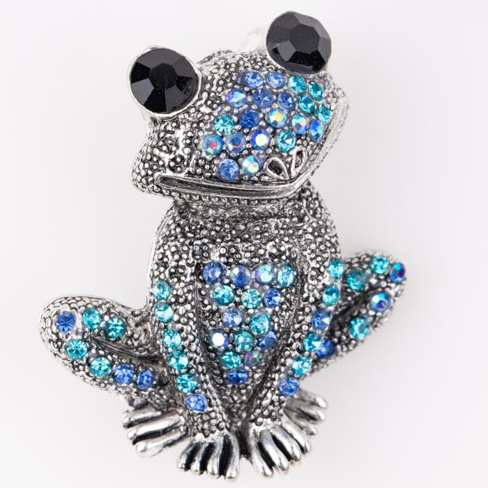 Brosa metalica broscuta argintie cu pietricele albastre 0