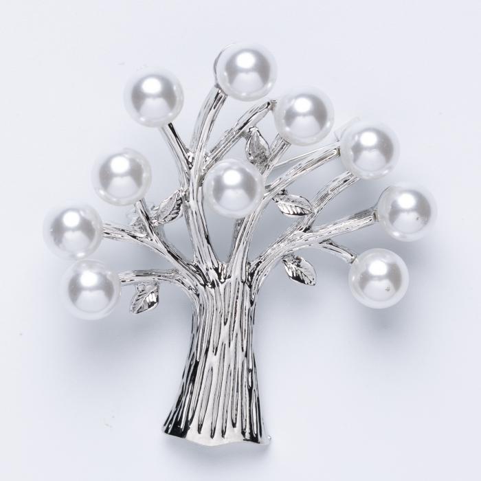 Brosa metalica copacul vietii argintiu cu perle [0]