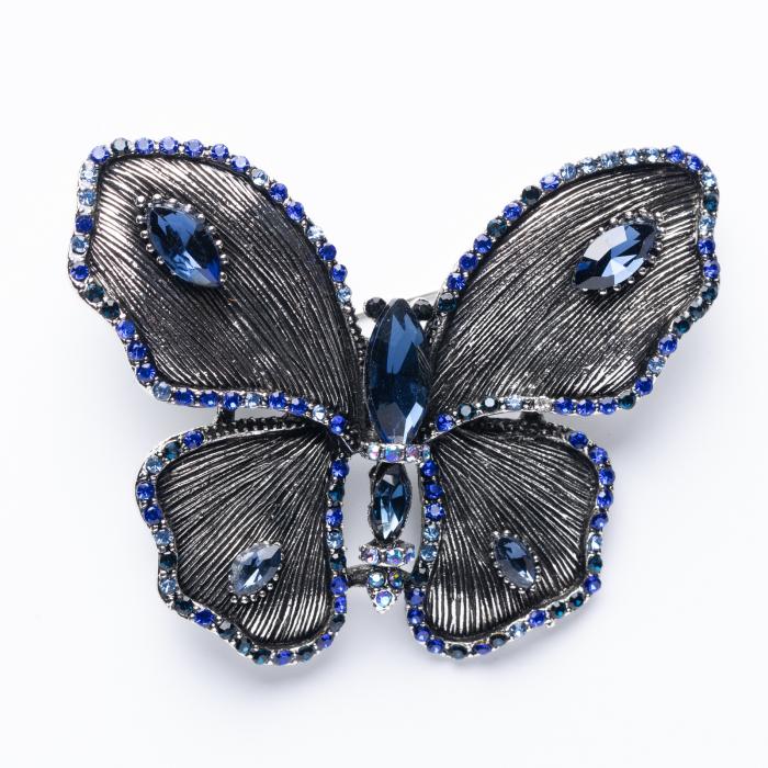 Brosa metalica argintie cu forma unui fluture cu pietricele albastre [0]