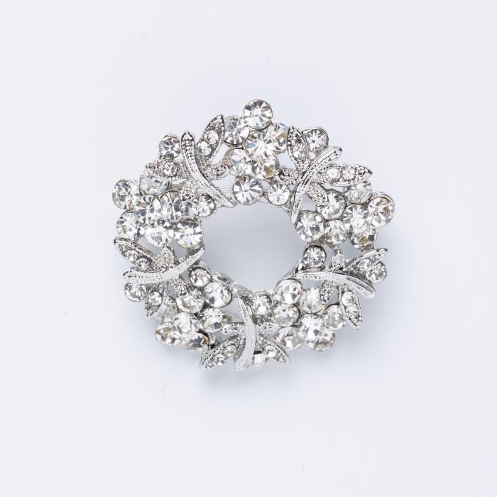 Brosa metalica argintie cu pietricele argintii [0]