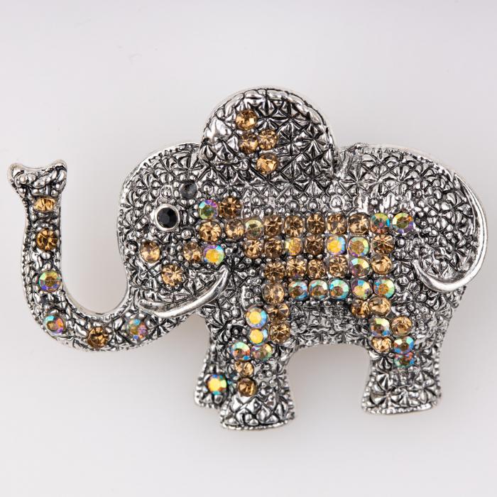 Brosa metalica elefant cu pietricele aurii [0]