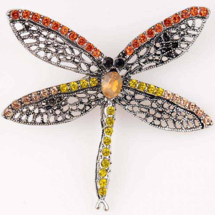 Brosa metalica libelula argintie cu pietricele rosii si galbene 0