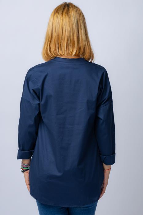 Camasa bleumarin asimetrica, oversize, din bumbac [2]