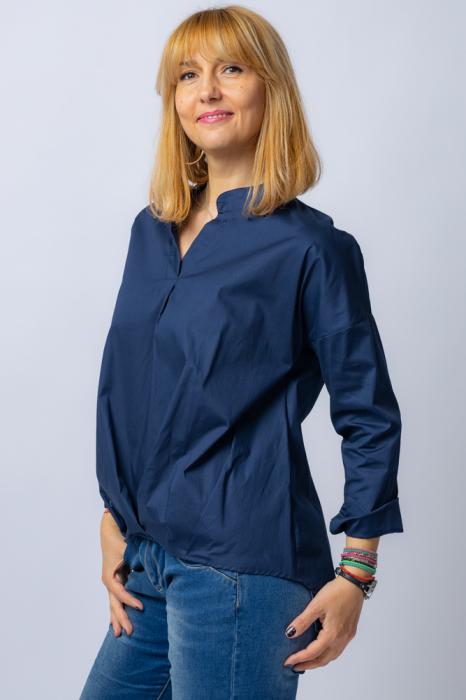 Camasa bleumarin asimetrica, oversize, din bumbac [1]
