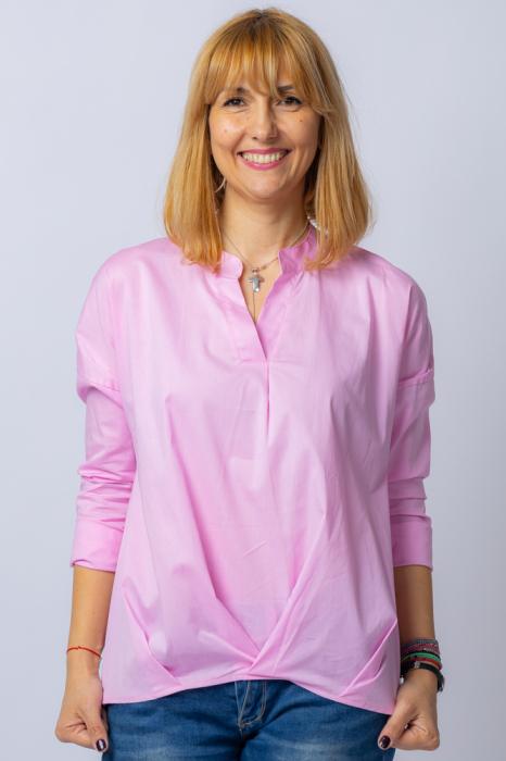 Camasa roz asimetrica, oversize, din bumbac [0]