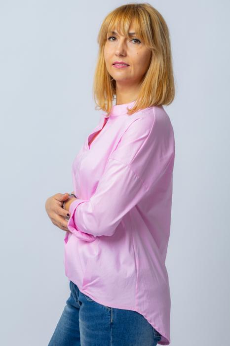 Camasa roz asimetrica, oversize, din bumbac [1]