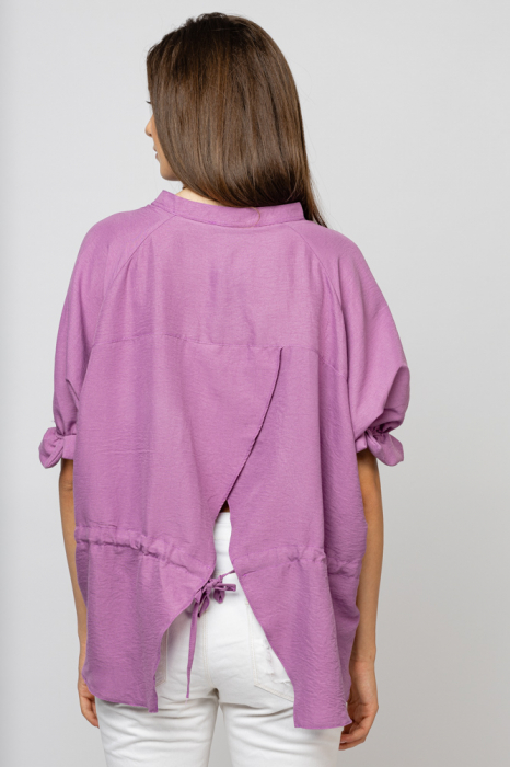 Camasa casual lila cu spartura si snur la spate [2]