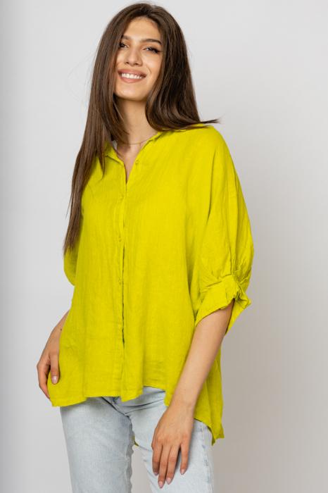 Camasa din in cu siret pe spate Stella Milani, galben lime [1]