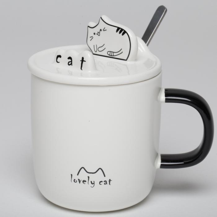 """Cana alba cu capac si lingurita, cu pisica """"lovely cat"""" 0"""