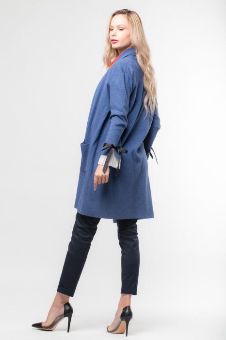 Cardigan elegant albastru  cu mansete plisate 1
