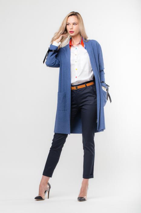 Cardigan elegant albastru  cu mansete plisate 0