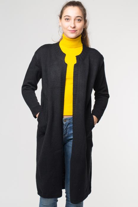 Cardigan negru lung cu buzunare si broderie florala pe spate [0]