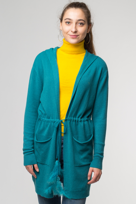 Cardigan turcoaz midi tricotat, cu gluga si buzunare [0]