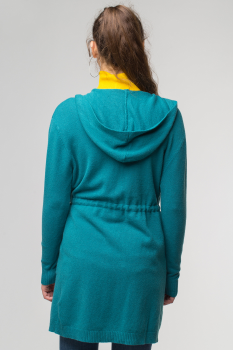 Cardigan turcoaz midi tricotat, cu gluga si buzunare [2]