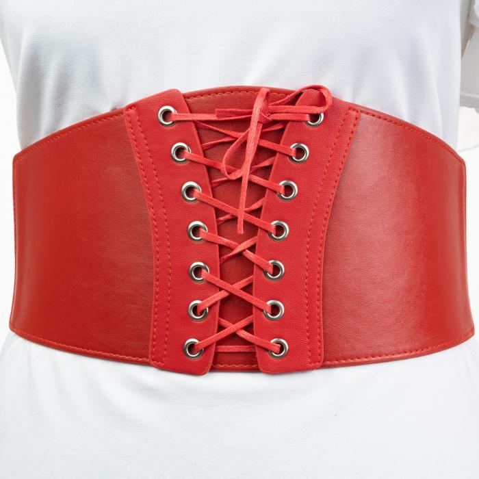 Centura rosie corset, lata din piele ecologica cu siret si capse mici [0]