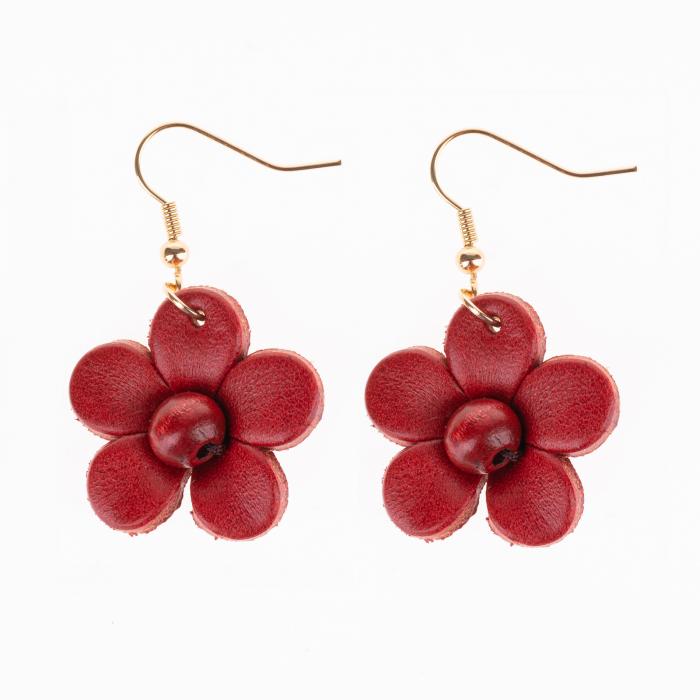 Cercei rosii din piele naturala cu forma de floare [0]