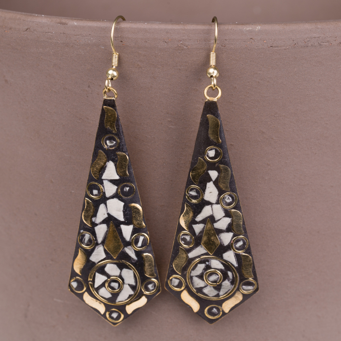 Cercei indieni mosaic lucrati manual negru-alb [0]