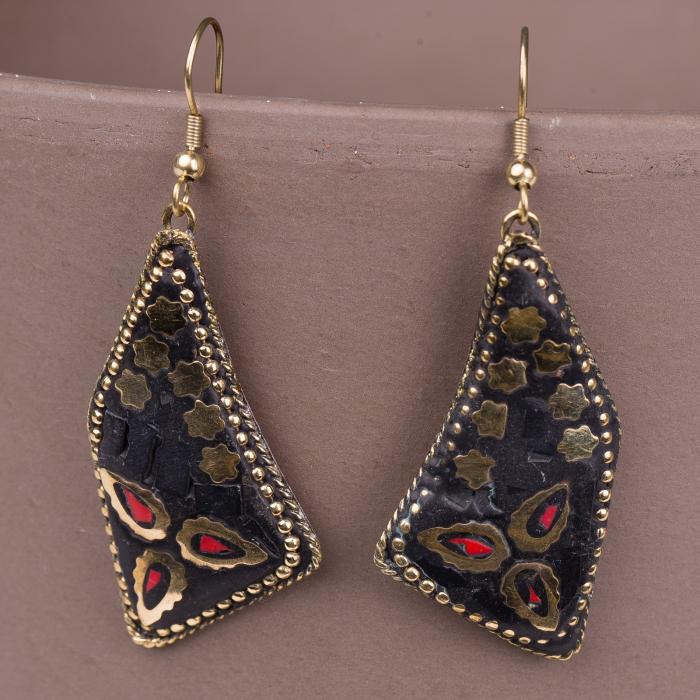 Cercei indieni mosaic lucrati manual negru-rosu [0]