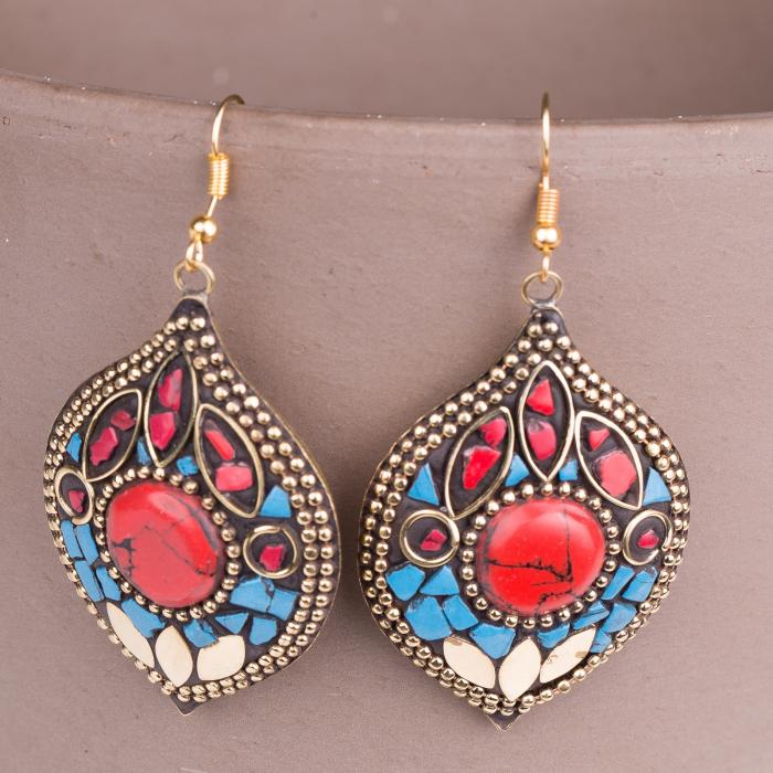Cercei indieni mosaic lucrati manual rosu-turcoaz alb [0]