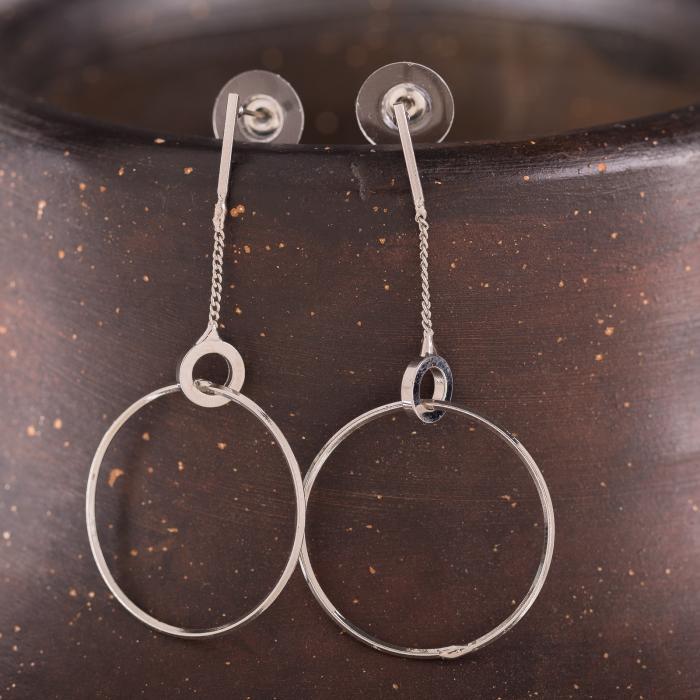 Cercei metalici argintii cu lant si cerc mare 0