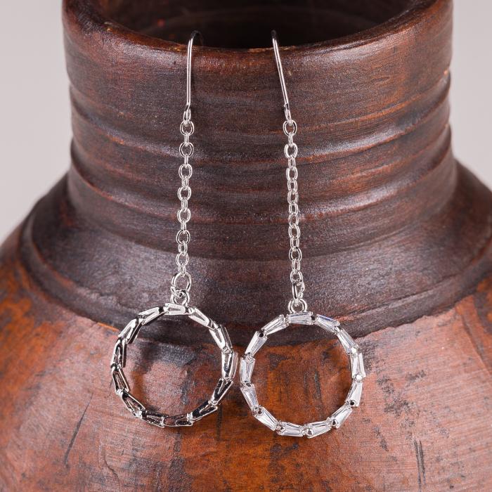 Cercei metalici argintii cu lant si cerc mic 0