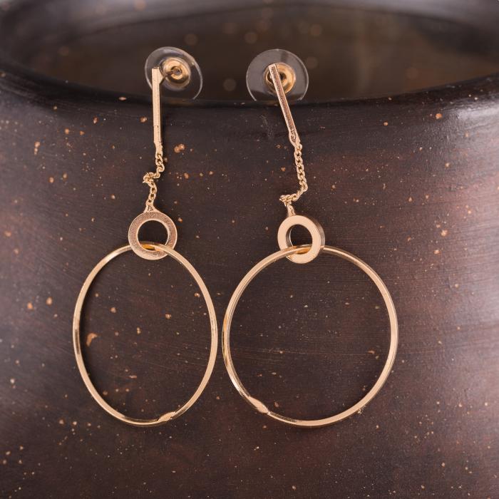 Cercei metalici aurii cu lant si cerc mare [0]