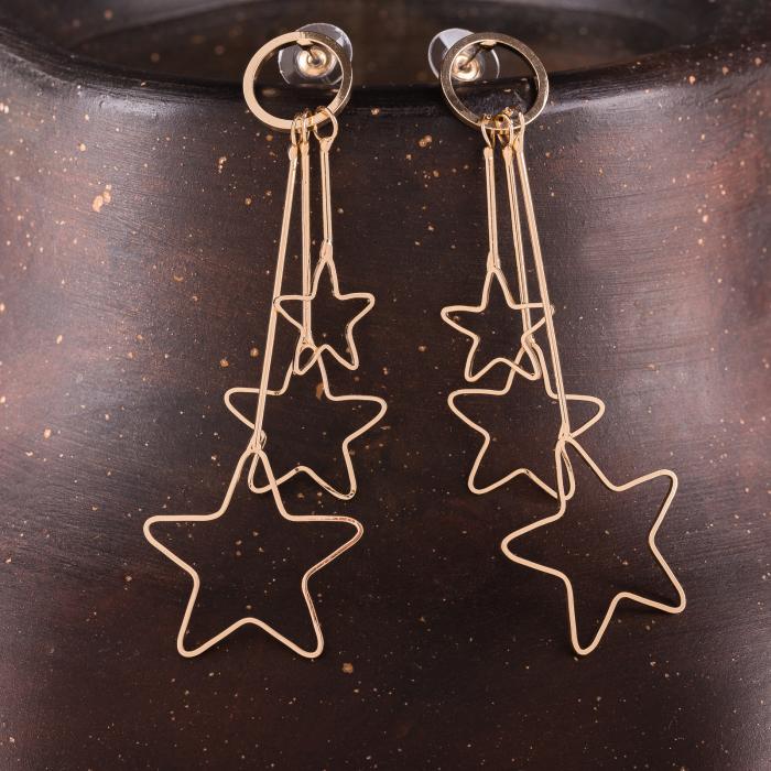 Cercei metalici aurii cu trei stelute 0