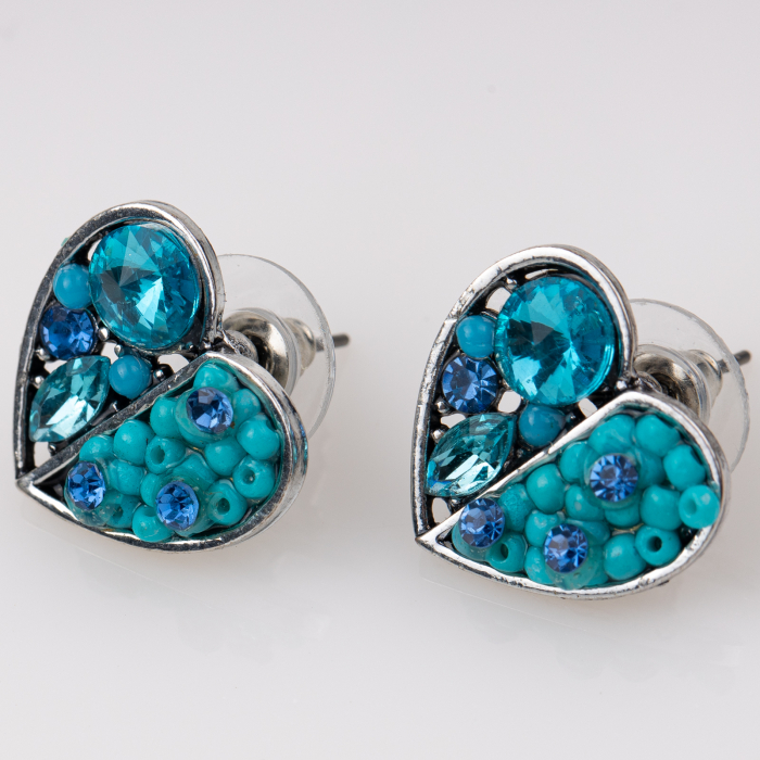 Cercei metalici sub forma a doua inimi, pietre turquoise [0]