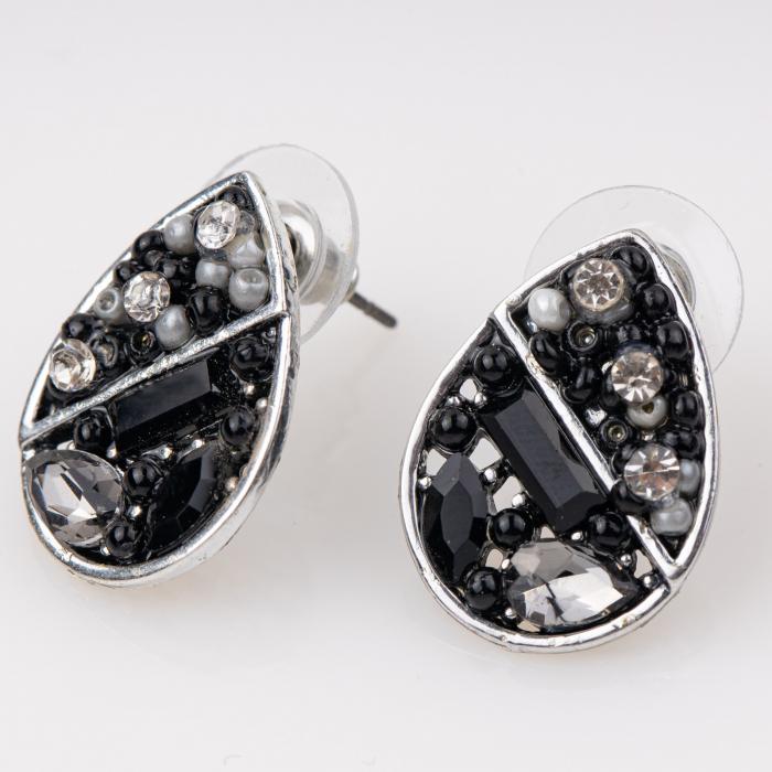 Cercei metalici sub forma a doua lacrimi, pietre negre [0]