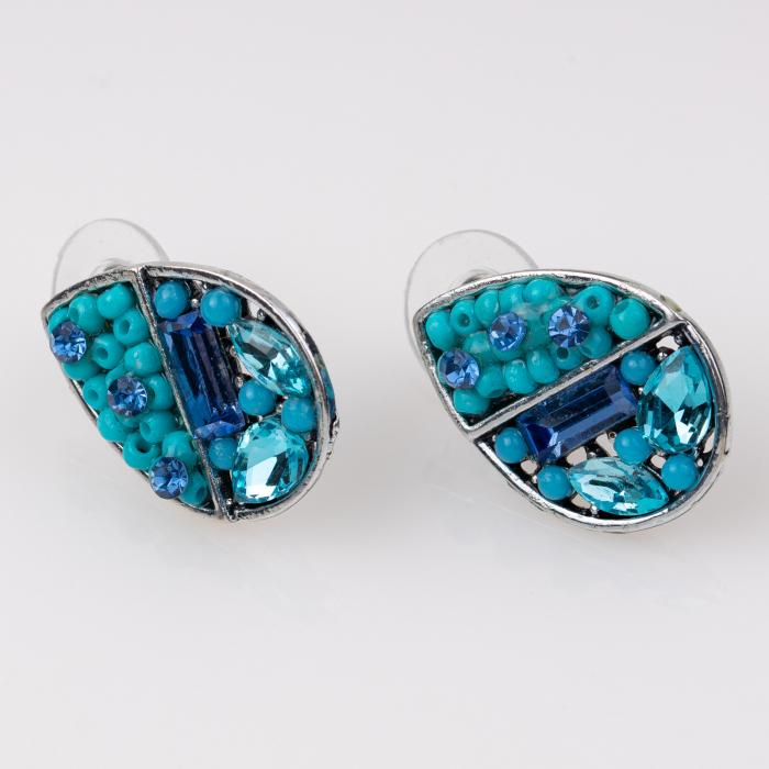 Cercei metalici sub forma a doua lacrimi, pietre turquoise [0]