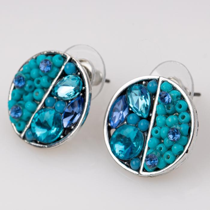 Cercei metalici sub forma a doua monede, pietre turquoise [0]