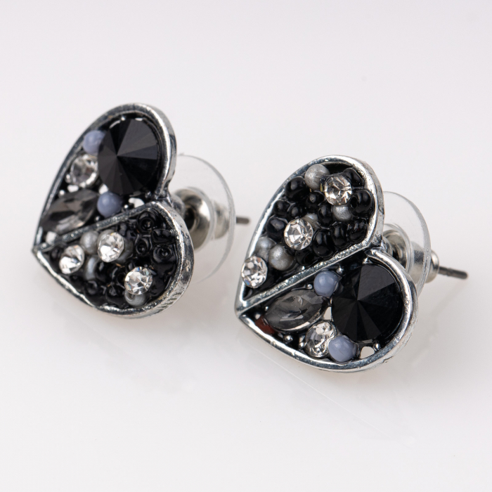 Cercei metalici sub forma a doua inimi, pietre negre [0]