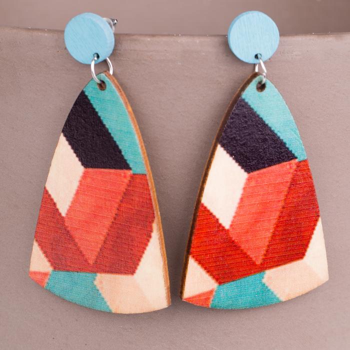 Cercei multicolori din lemn rosu-albastru 0