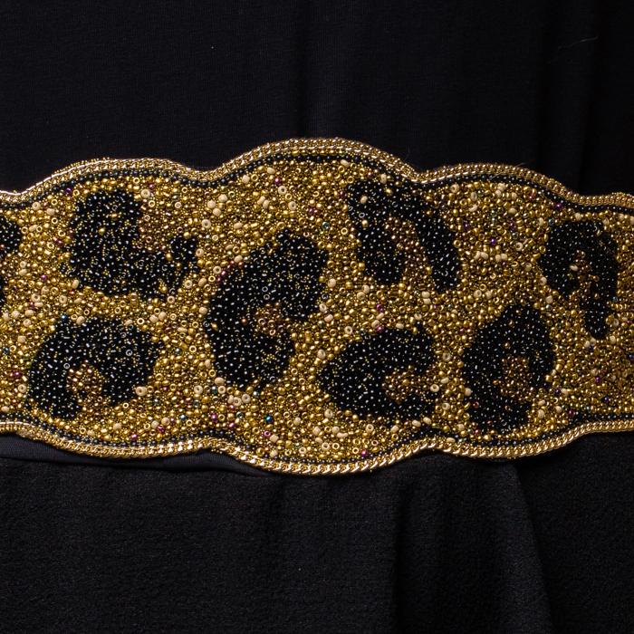 Curea lata leopard margelute aurii si negre 1